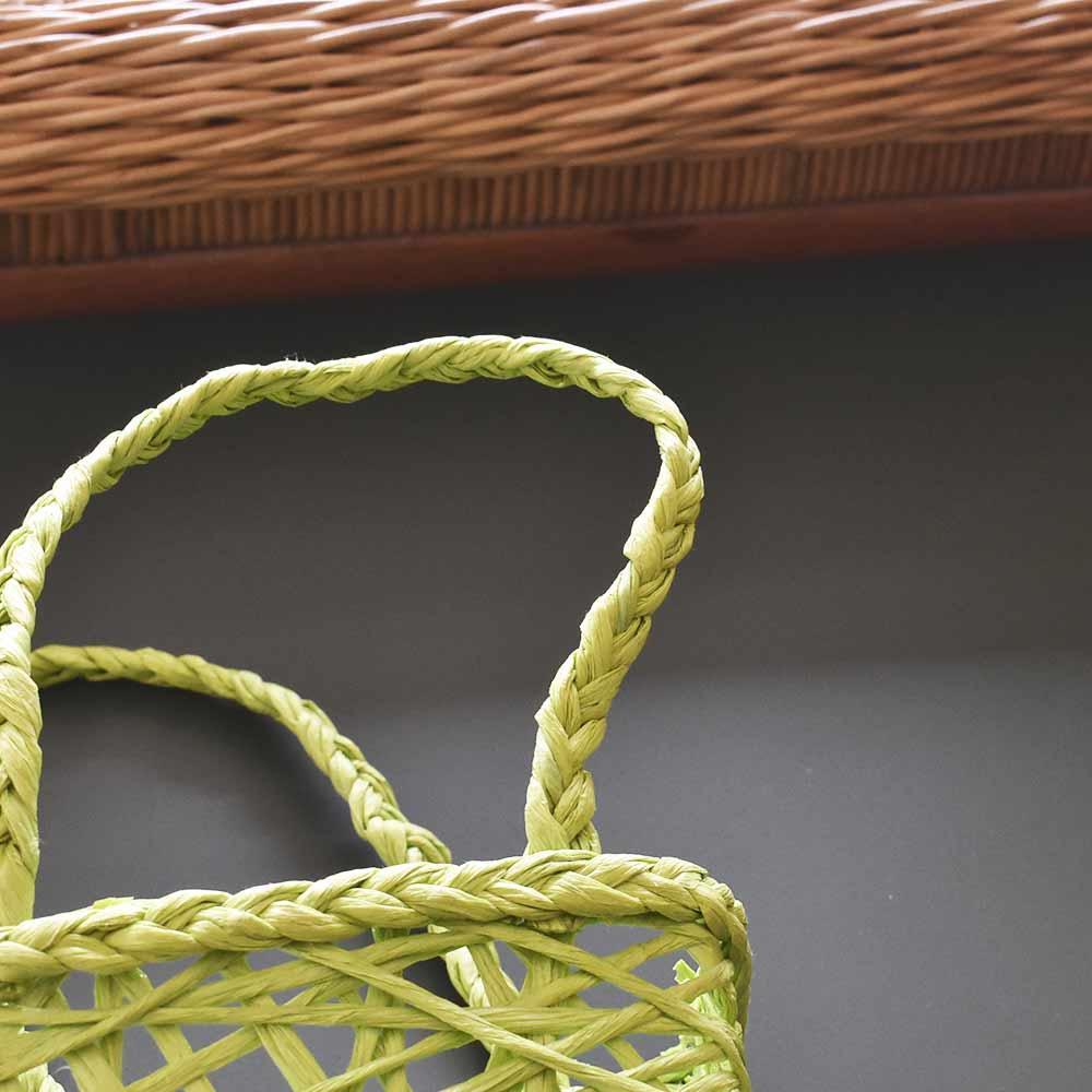 Cesta Retangular Papel Trançado Verde  - Lemis