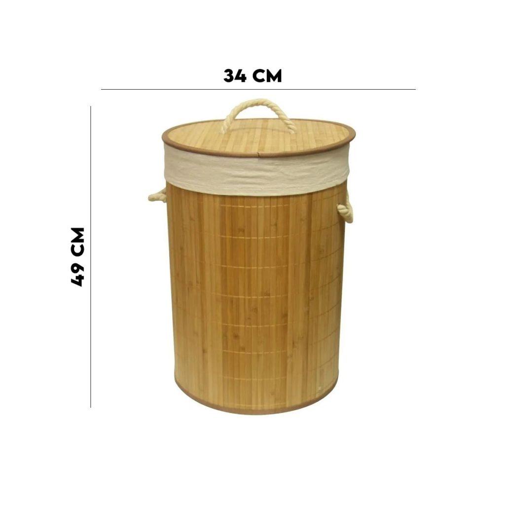 Cesto Em Bambu com Forro 49 cm Marrom Claro  - Lemis