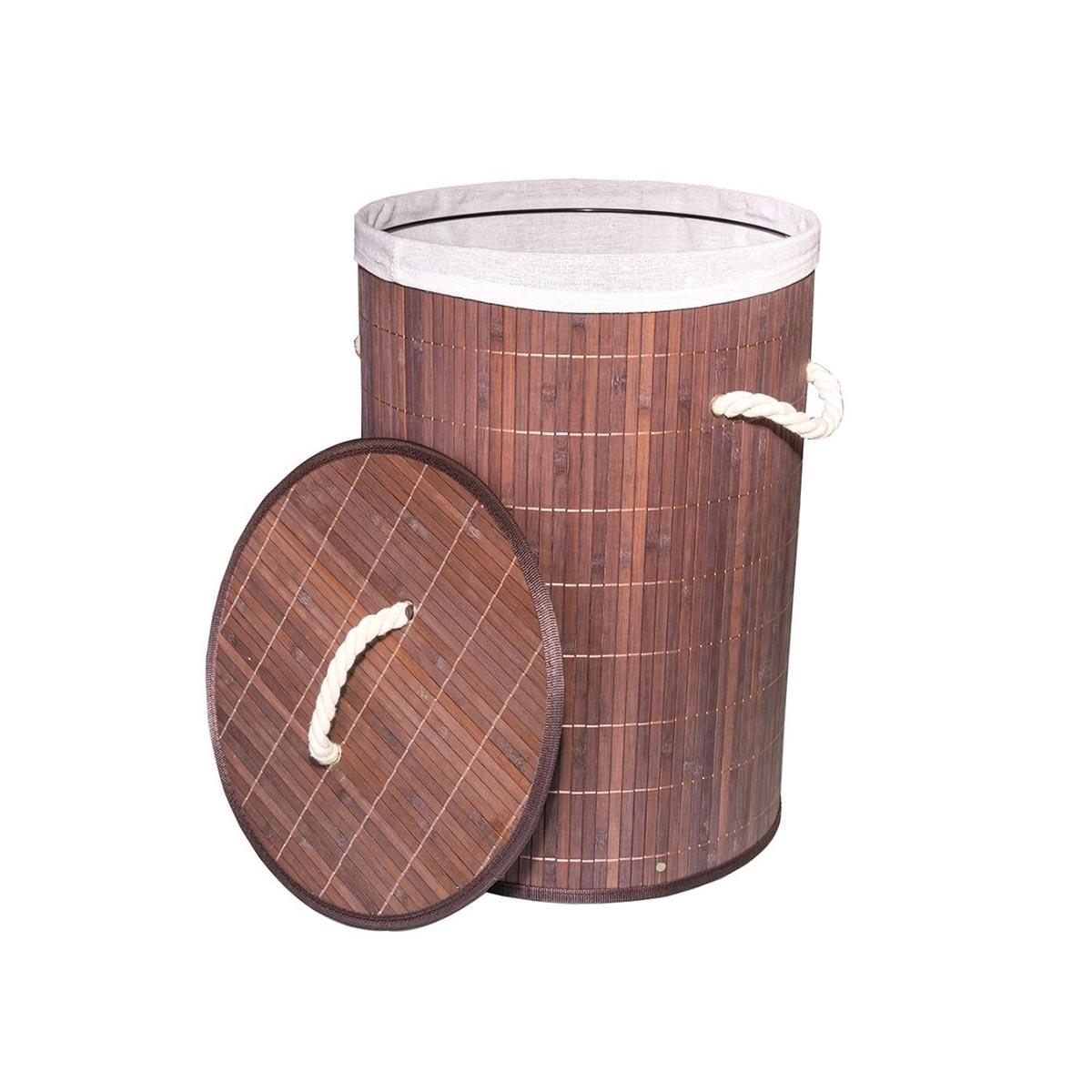 Cesto Em Bambu com Forro 49 cm  Marrom Escuro  - Lemis