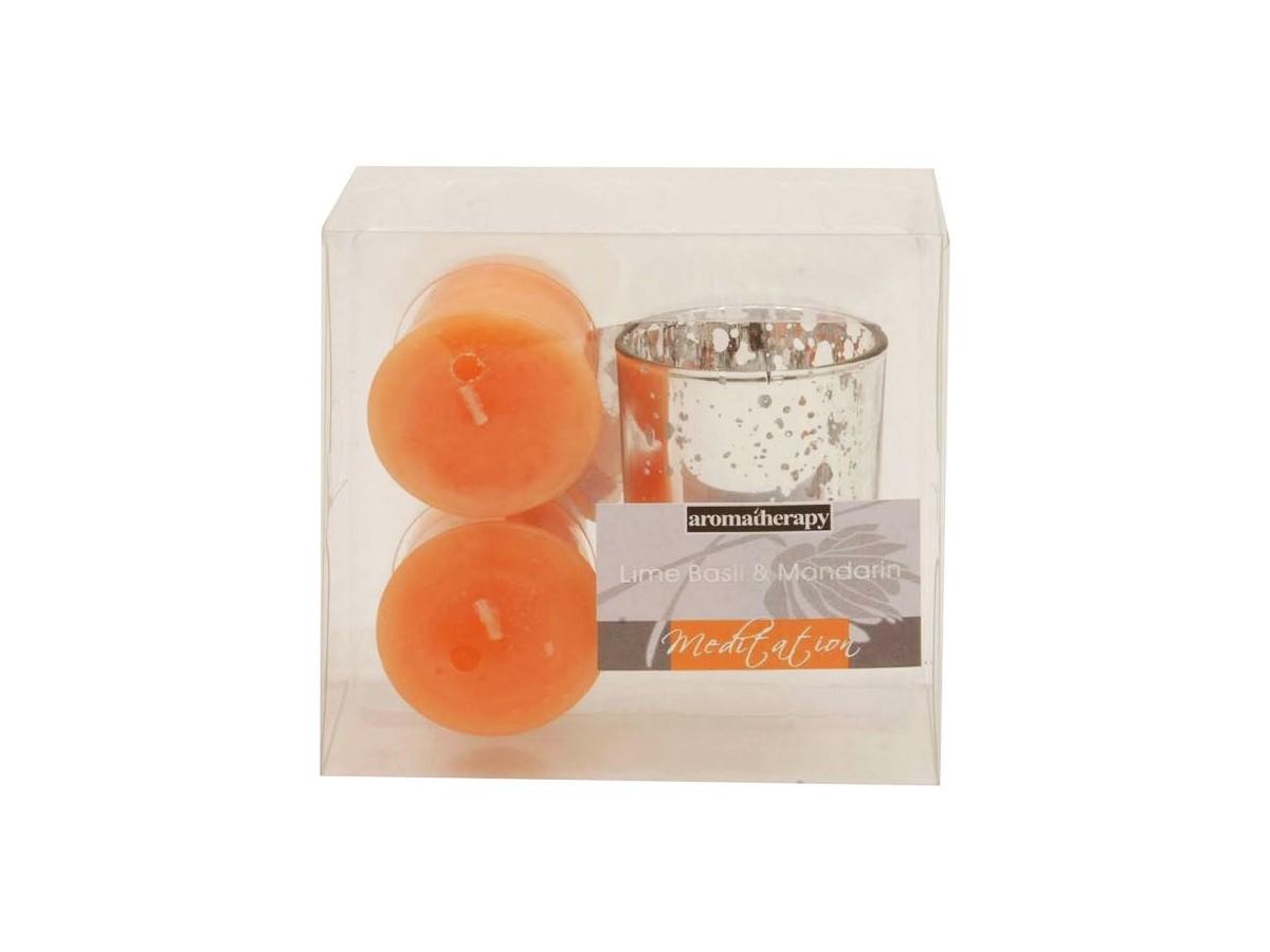 Conjunto 2 Velas Copo Com Castical Lime Basil & Mandarin  - Lemis