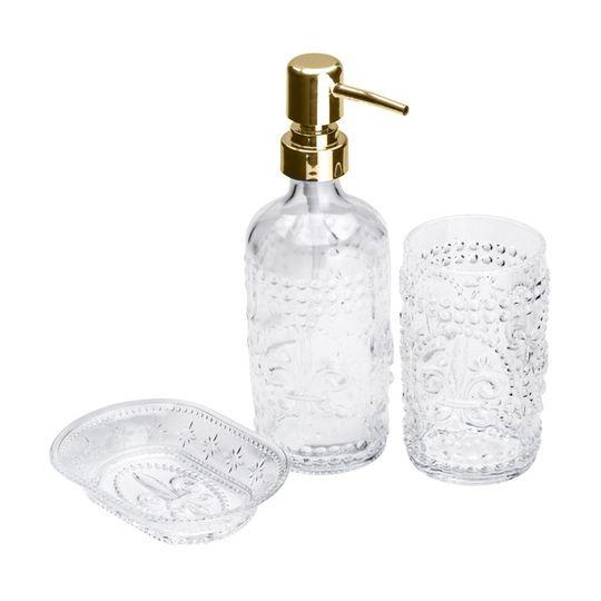 Conjunto 3 Peças para Banheiro de Vidro Flor de Lis Dourado  - Lemis