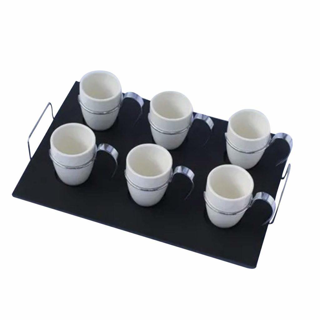 Conjunto de 6 Xícaras 75ml em Porcelana Branca com Bandeja Preta  - Lemis