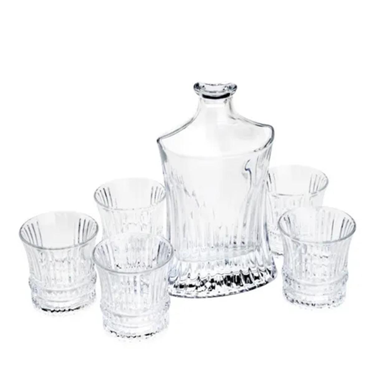 Conjunto Garrafa de Whisky 550 ml e 6 Copos de Cristal de Chumbo 240 ml  - Lemis