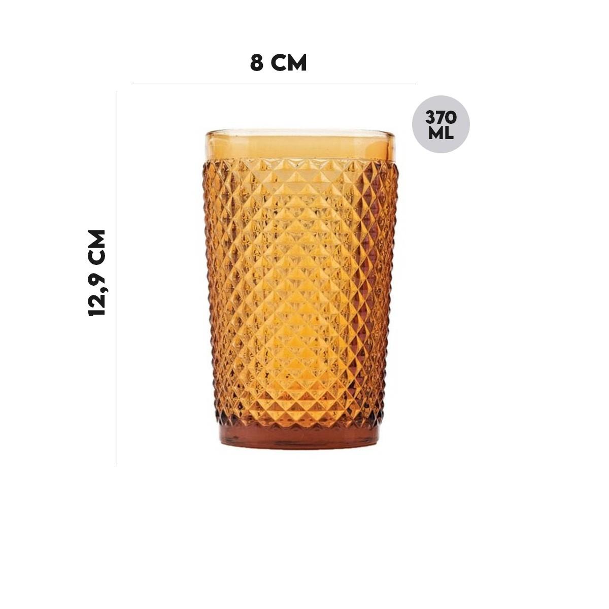 Copo Alto Sodo Cálcico Âmbar 370 ml  - Lemis