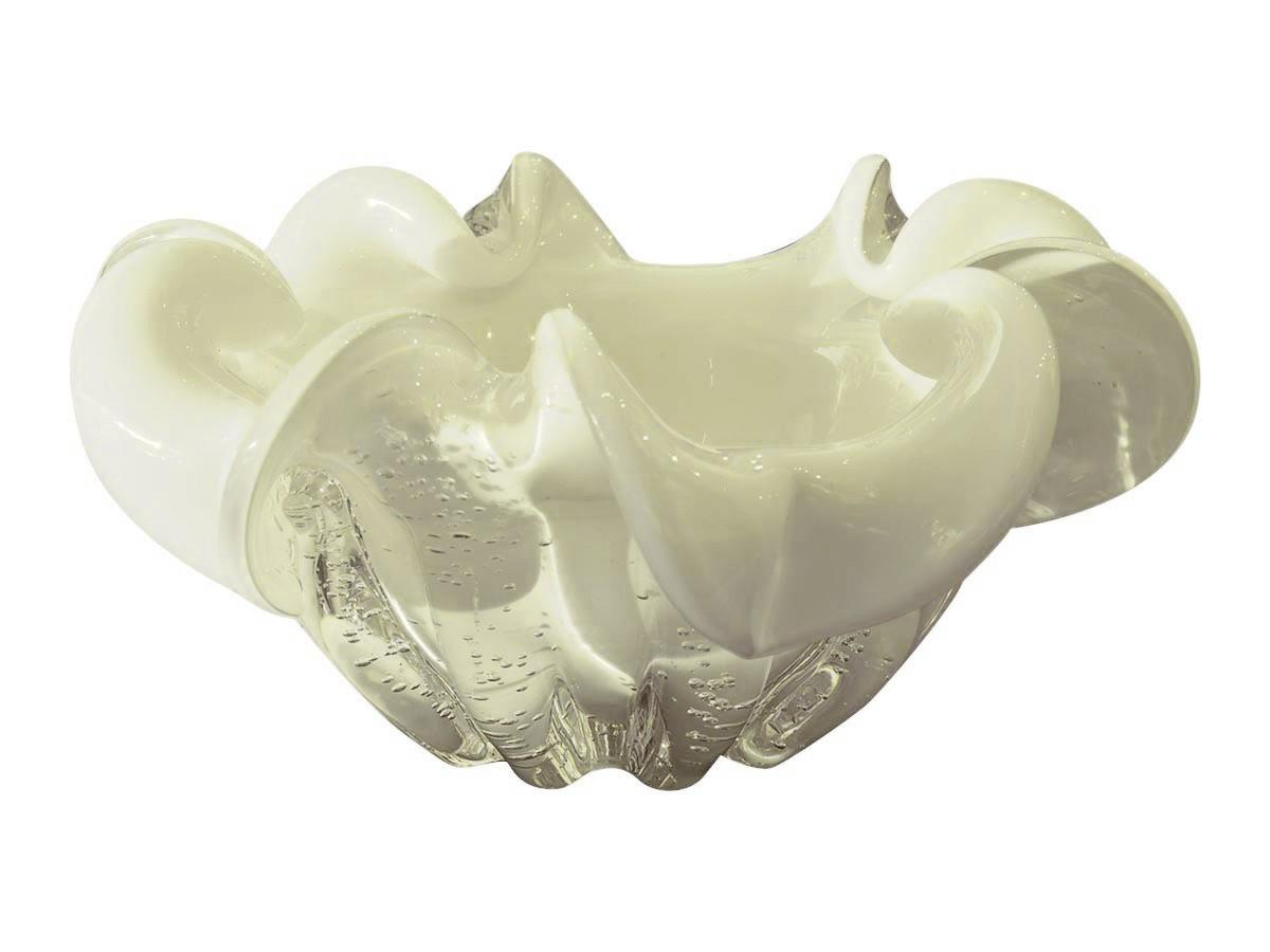 Fruteira De Vidro Branco Murano 21x10cm  - Lemis