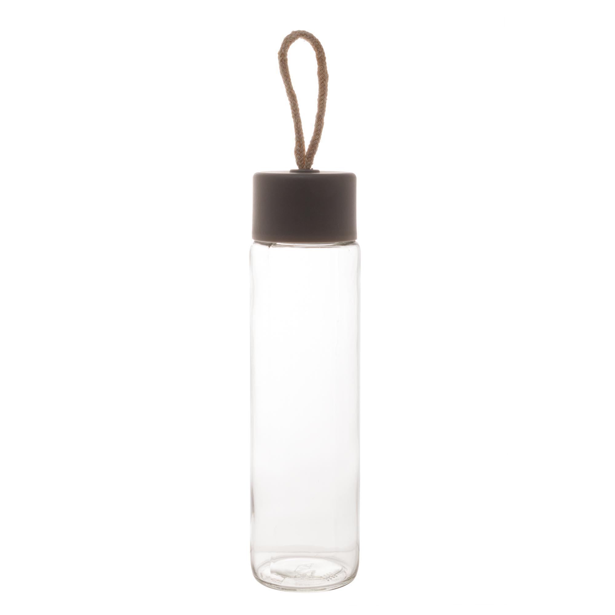 Garrafa de Vidro Cinza Sodo Cálcico Transparente 380ml Lyor  - Lemis