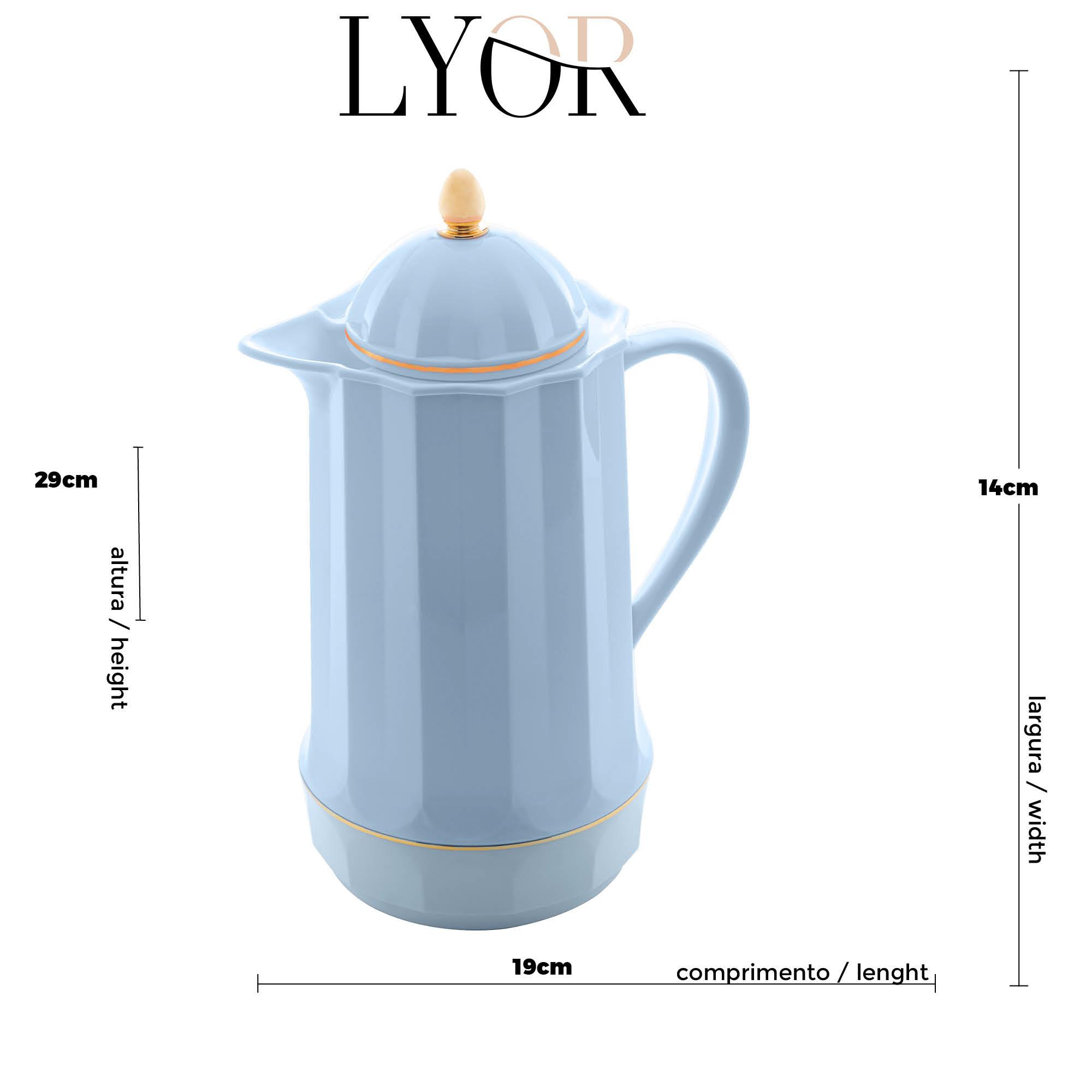 Garrafa Térmica de Plástico Genova Azul 1L  - Lemis