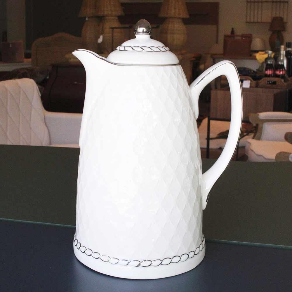 Garrafa Térmica de Porcelana Branca e Prata 900 ml  - Lemis