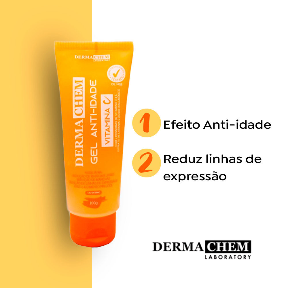 Gel Facial Anti-Idade Vitamina C Dermachem  - Lemis