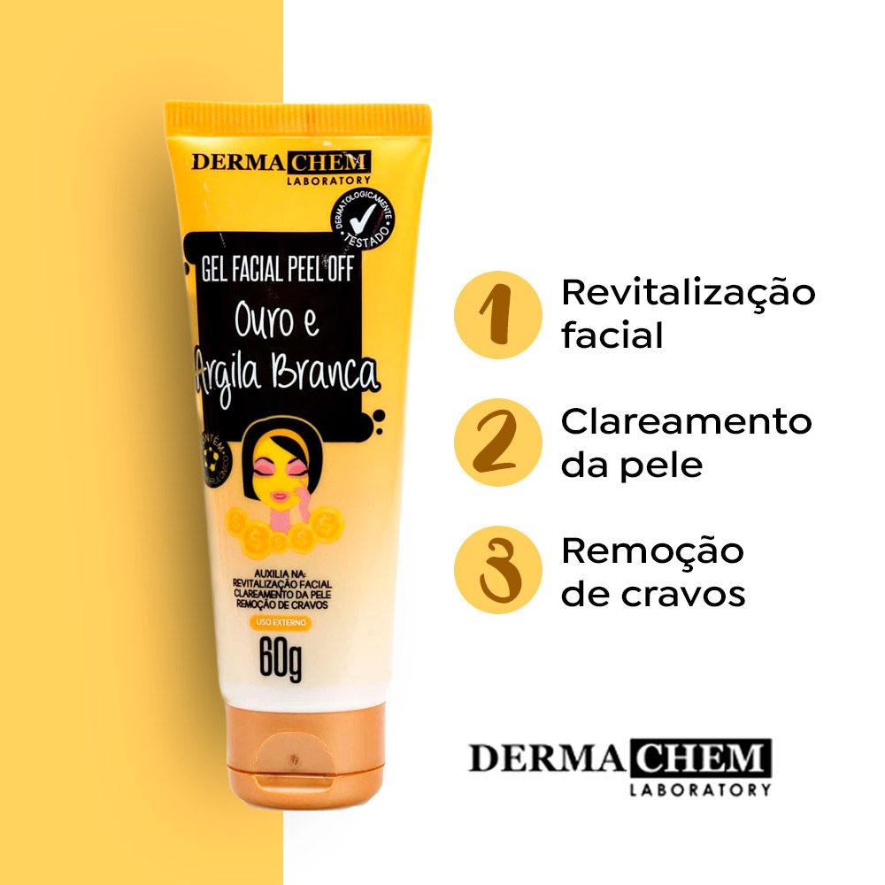 Gel Facial Peel Off Ouro e Argila Branca 60g Dermachem  - Lemis