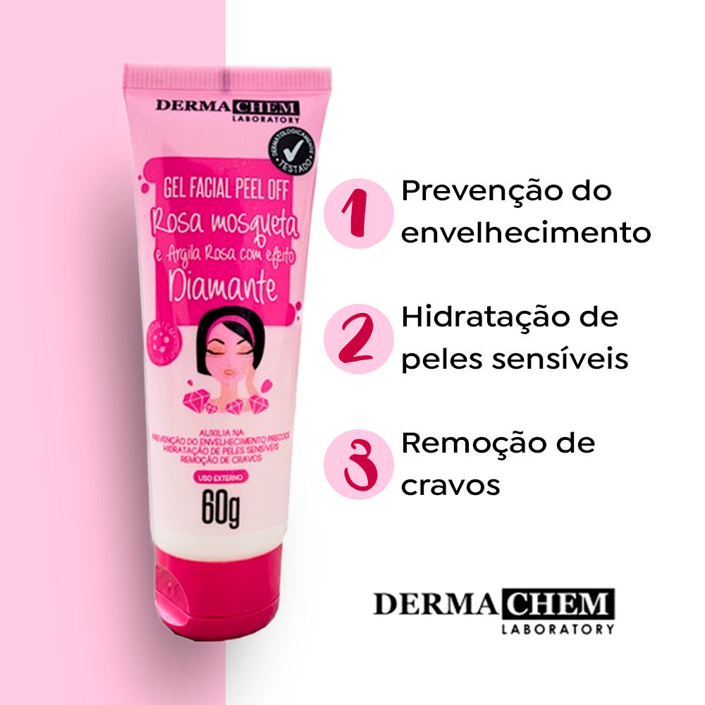 Gel Facial Peel Off Rosa Mosqueta 60g Dermachem  - Lemis