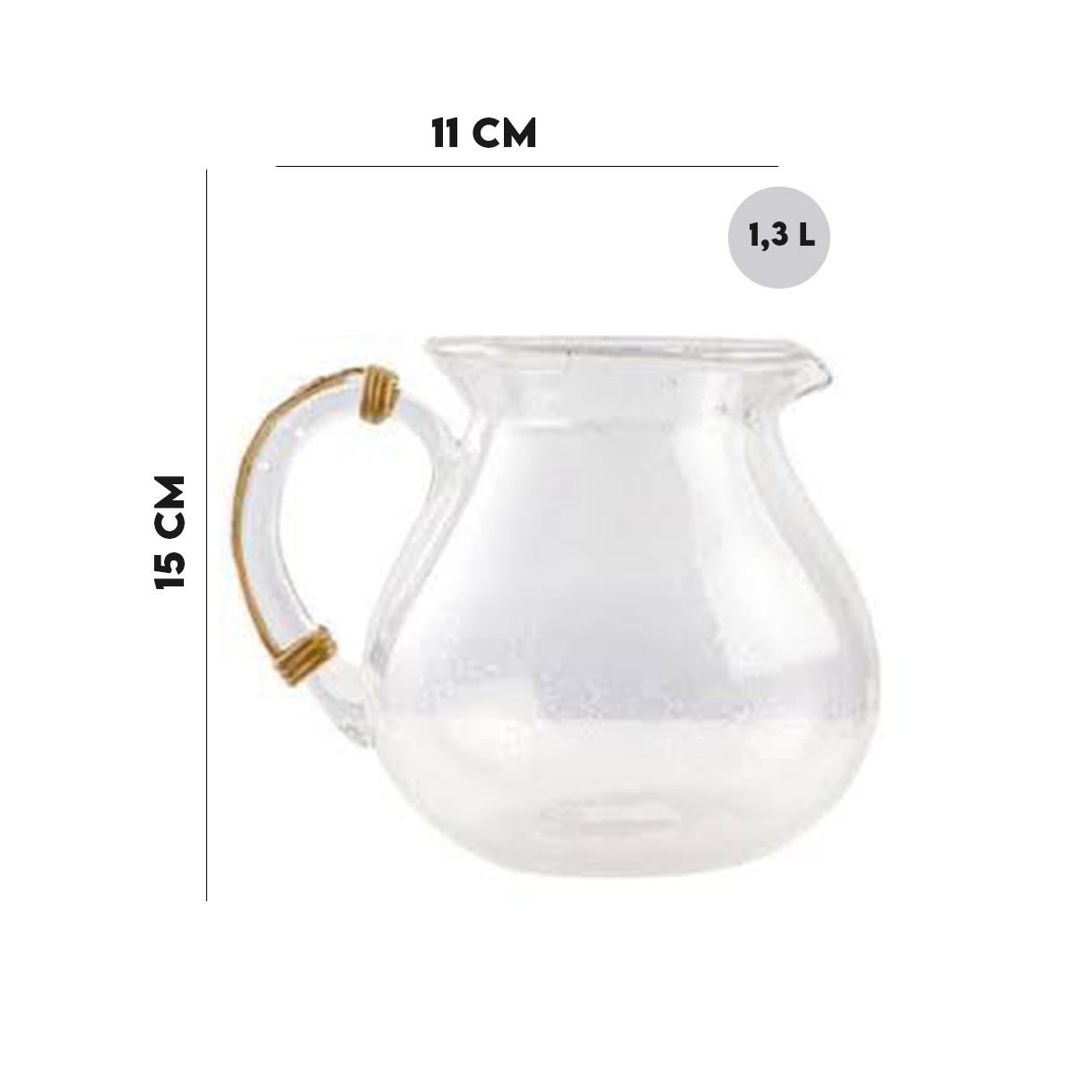 Jarra 1,3L Transparente com Alça Bambu Lyor  - Lemis