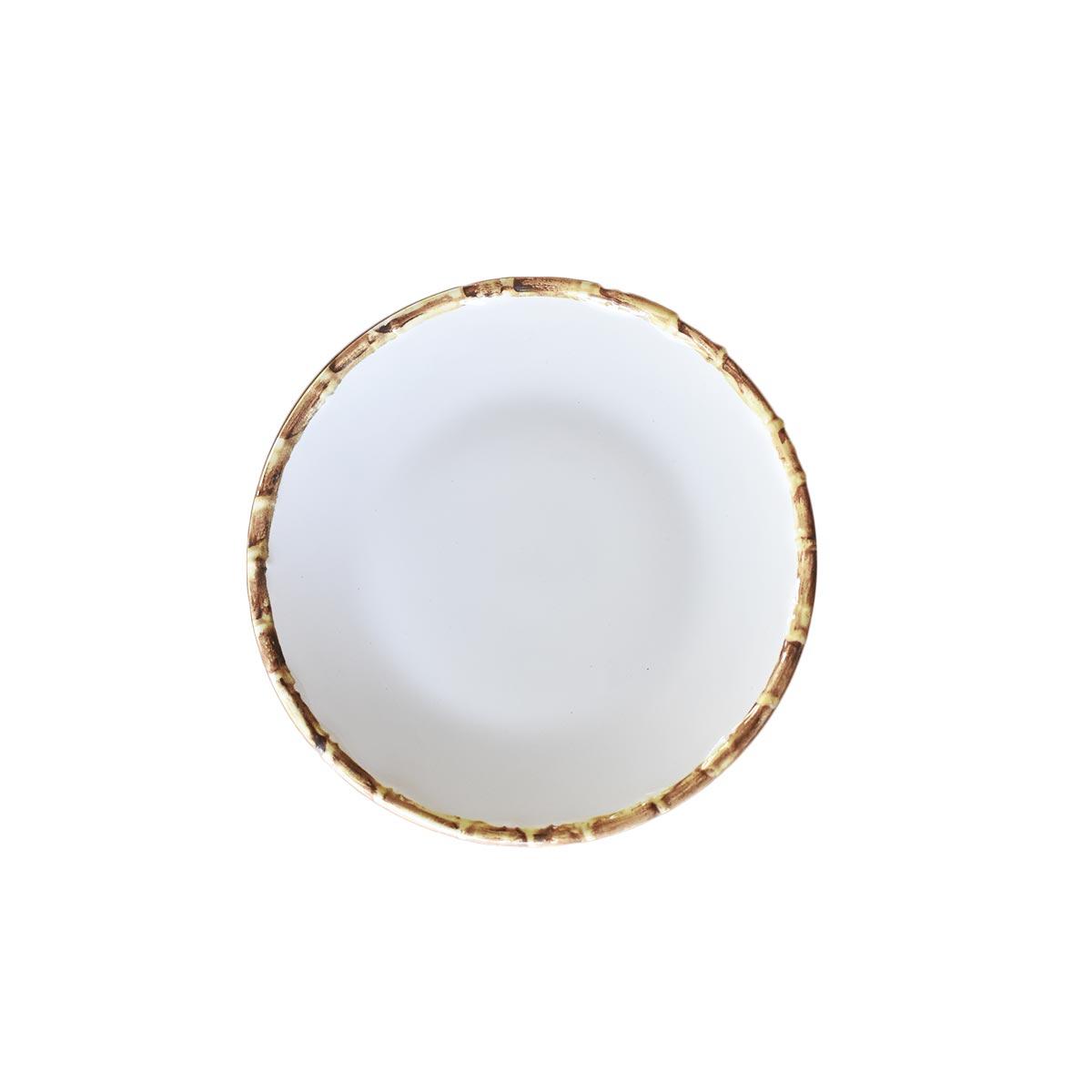 Jogo 12 Pratos de Sobremesa Borda de Bambu 2ª Linha  - Lemis
