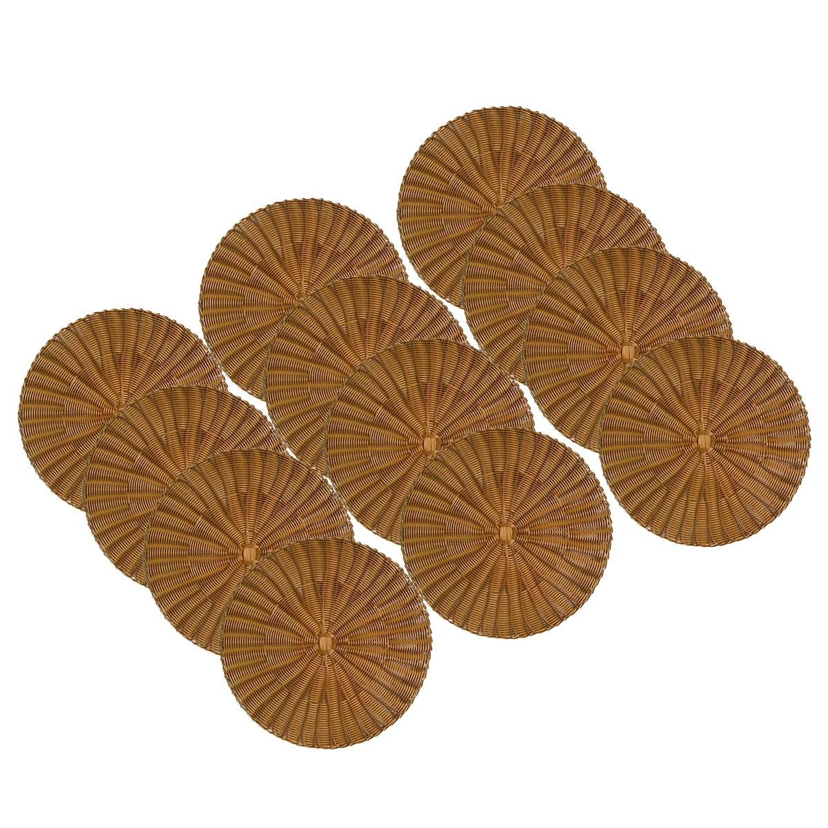 Jogo 12 Sousplats de Plástico Dourado   - Lemis