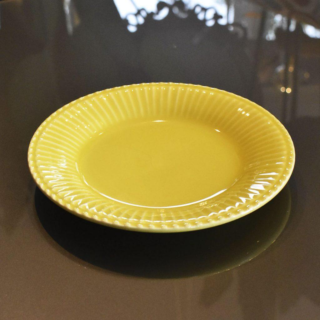 Jogo 4 Pratos de Sobremesa Frisada Amarelo 21cm  - Lemis