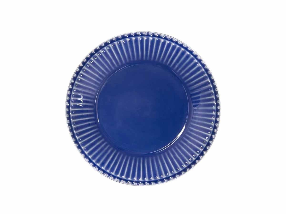 Jogo 4 Pratos de Sobremesa Frisada azul 20cm  - Lemis