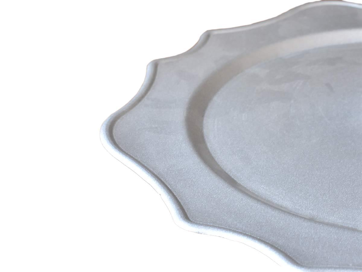 Jogo 4 Sousplats 33cm Cinza de Plástico  - Lemis
