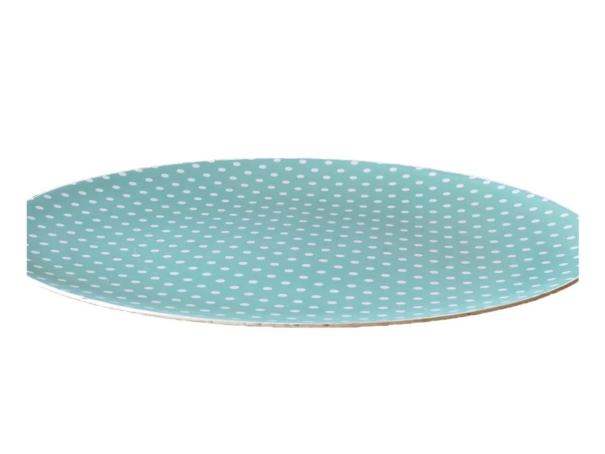 Jogo 4 Sousplats 33cm de Plástico Romance Pois Azul  - Lemis