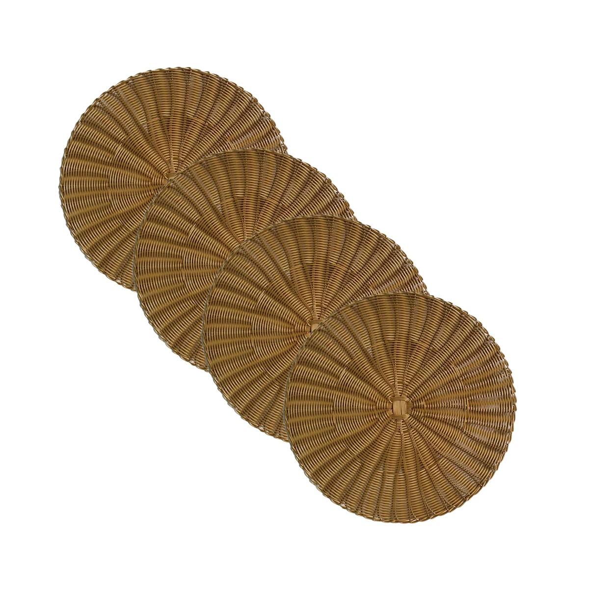 Jogo 4 Sousplats de Plástico Dourado   - Lemis