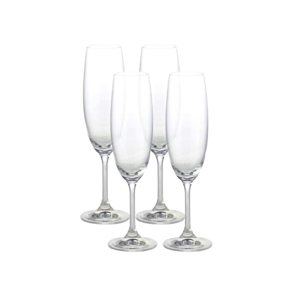Jogo 4 Taça para Degustação Champagne de Cristal Ecológico 220 ml  - Lemis