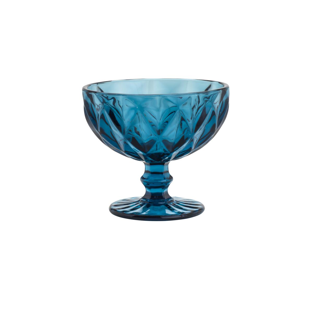 Jogo 4 Taças Coupe de Vidro Sodo-Calcico Diamond Azul 310 ml  - Lemis