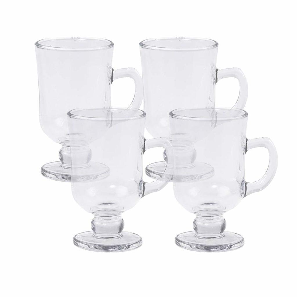Jogo 4 Taças de Cappuccino c/Alça e Pé de Vidro 114ml Lyor  - Lemis