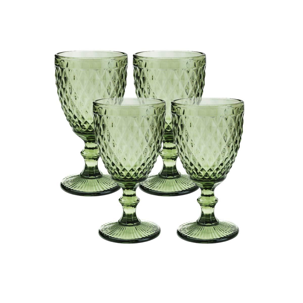 Jogo 4 Taças de Vidro p/Água Lyor Abacaxi 325 ml Verde  - Lemis