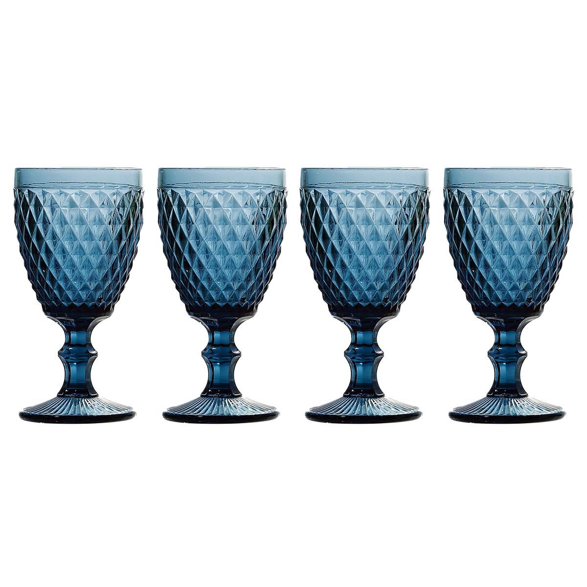 Jogo 4 Taças p/Água em Vidro Azul Bico de Abacaxi 260ml Lyor  - Lemis