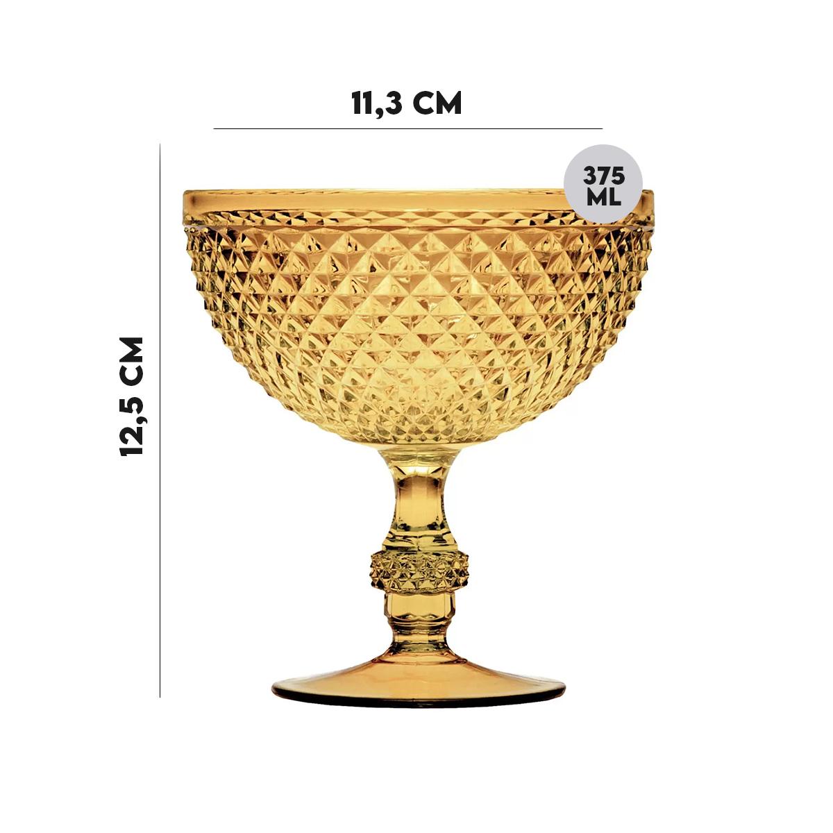 Jogo 4 Taças p/ Sorvete de Acrílico Âmbar Bon Gourmet 375ml  - Lemis