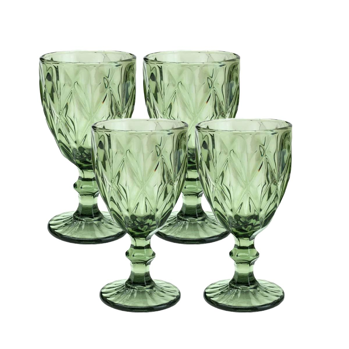 Jogo 4 Taças para água de Vidro Diamond Verde 300 ml  - Lemis
