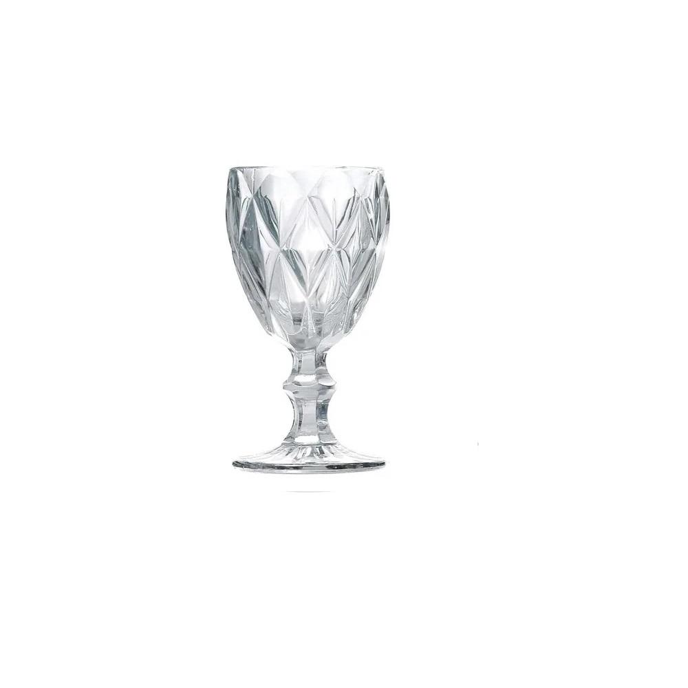 Jogo 4 Taças para Água Vidro Sodo Cálcico Diamond Transparente Lyor 325 ml  - Lemis