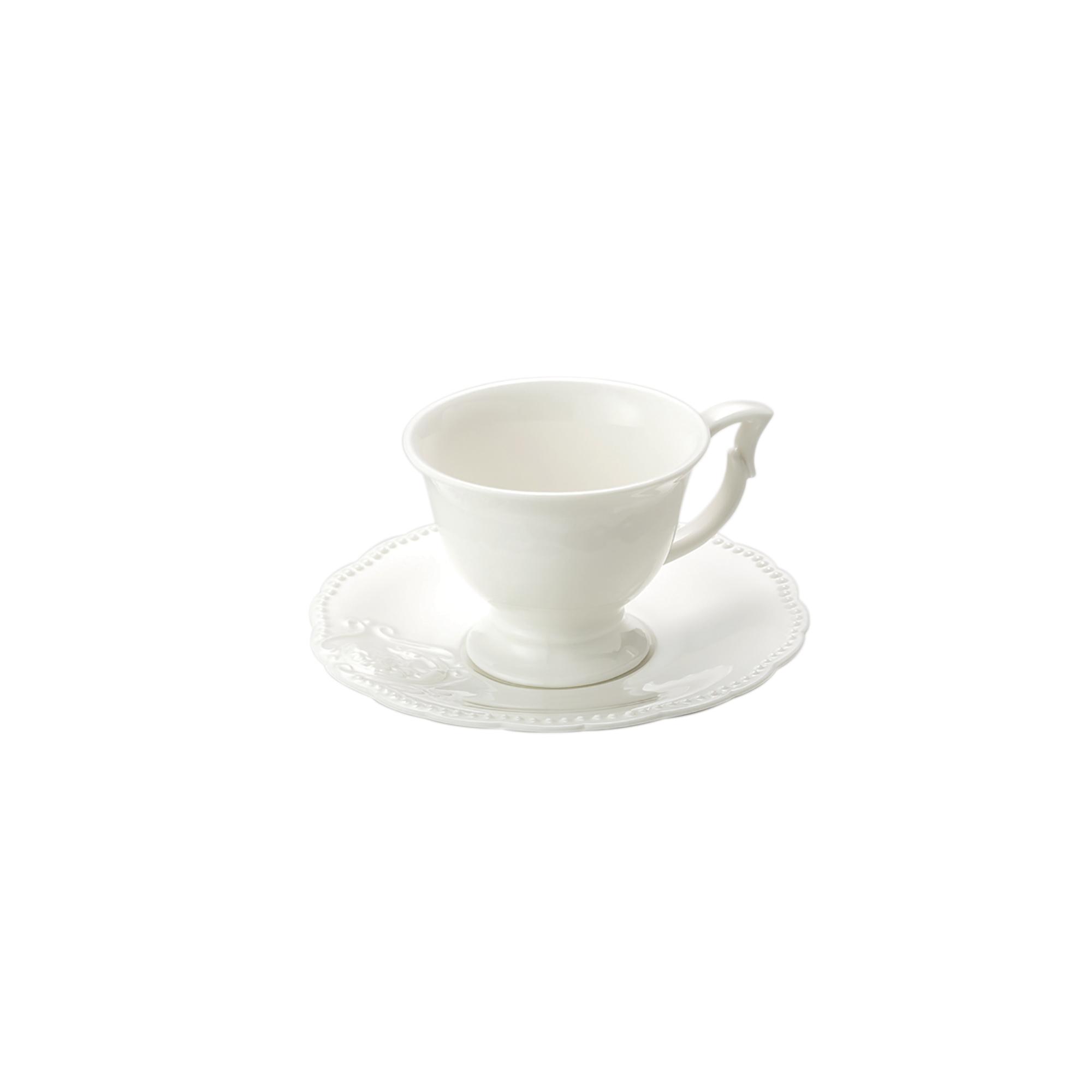 Jogo 4 Xícaras p/Café c/Pires de Porcelana Branco 100ml Lyor  - Lemis