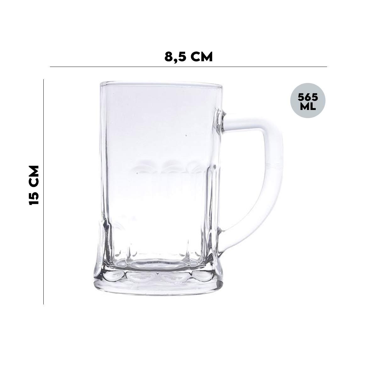 Jogo 6 Canecas Para Chopp e Cerveja 565 ml Lyor  - Lemis