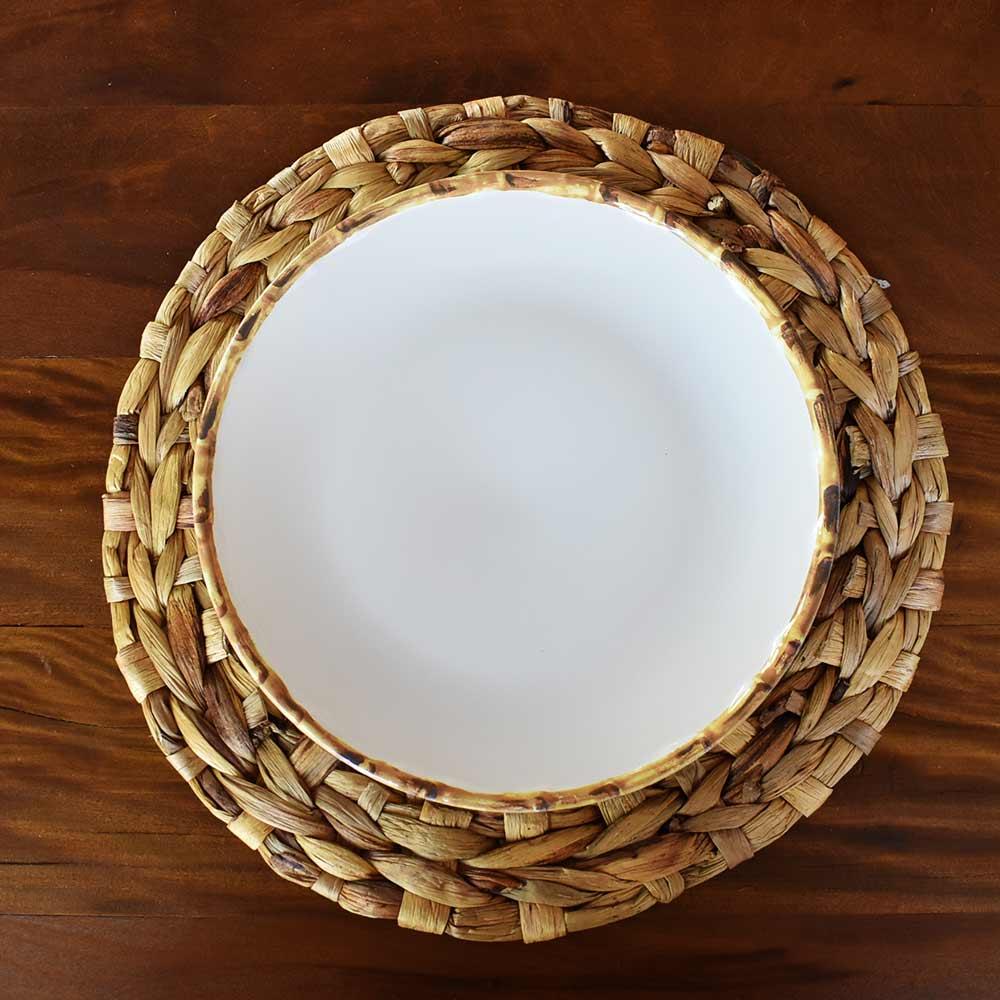 Jogo 6 Pratos Rasos 27cm Borda de Bambu 1ª Linha Scalla  - Lemis
