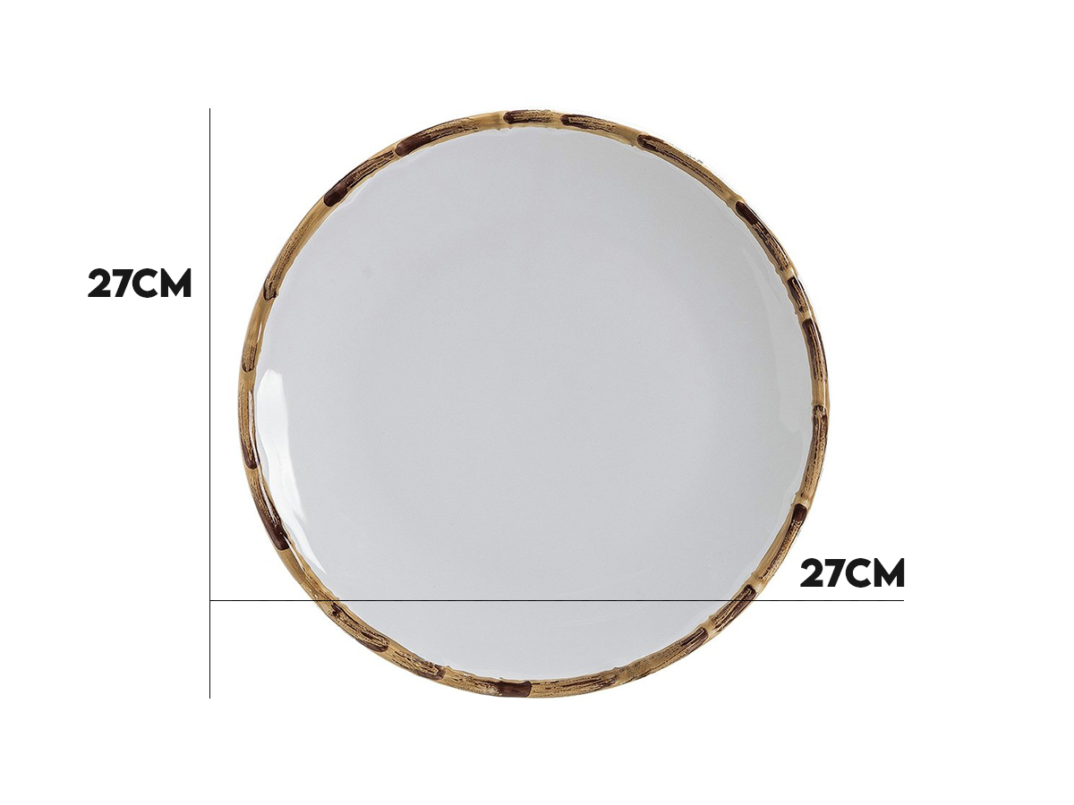 Jogo 6 Pratos Rasos Bambu Natural 27cm Scalla 2ªlinha  - Lemis