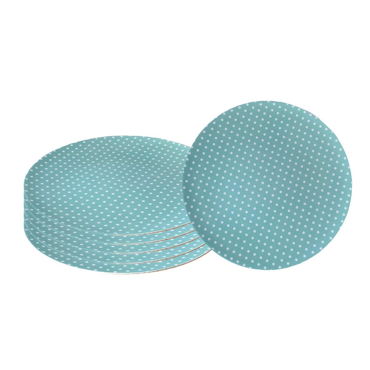 Jogo 6 Sousplats 33cm de Plástico Romance Pois Azul  - Lemis