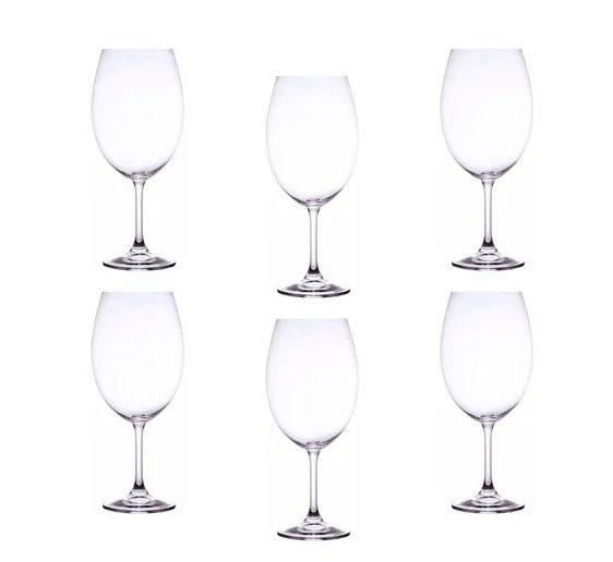 Jogo 6 Taça para Degustação de Vinho Cristal Ecológico 580 ml  - Lemis