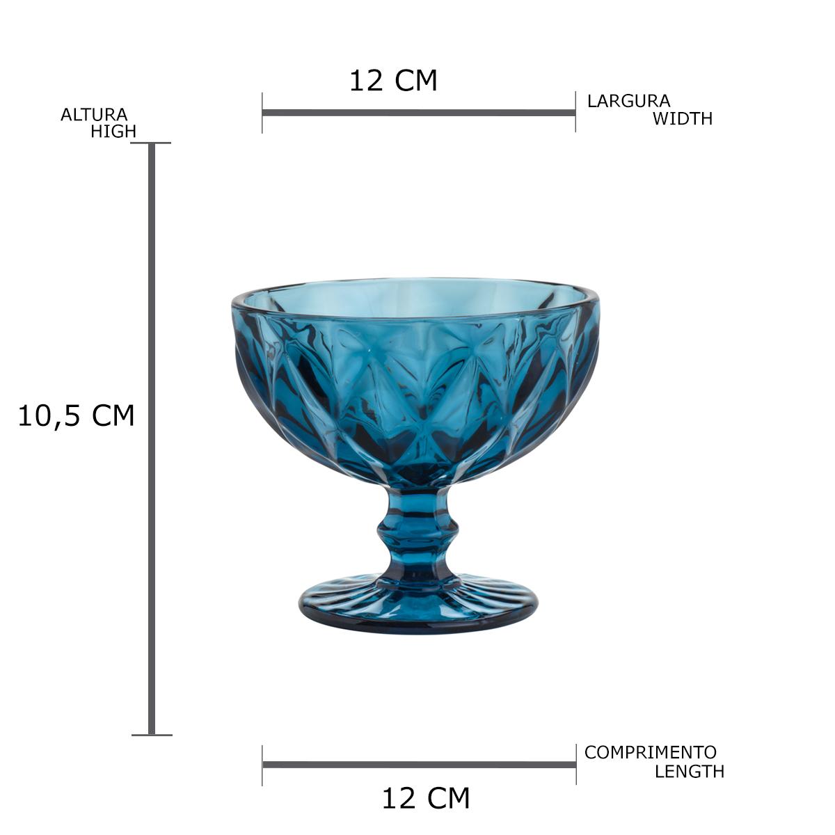 Jogo 6 Taças Coupe de Vidro Sodo-Calcico Diamond Azul 310 ml  - Lemis