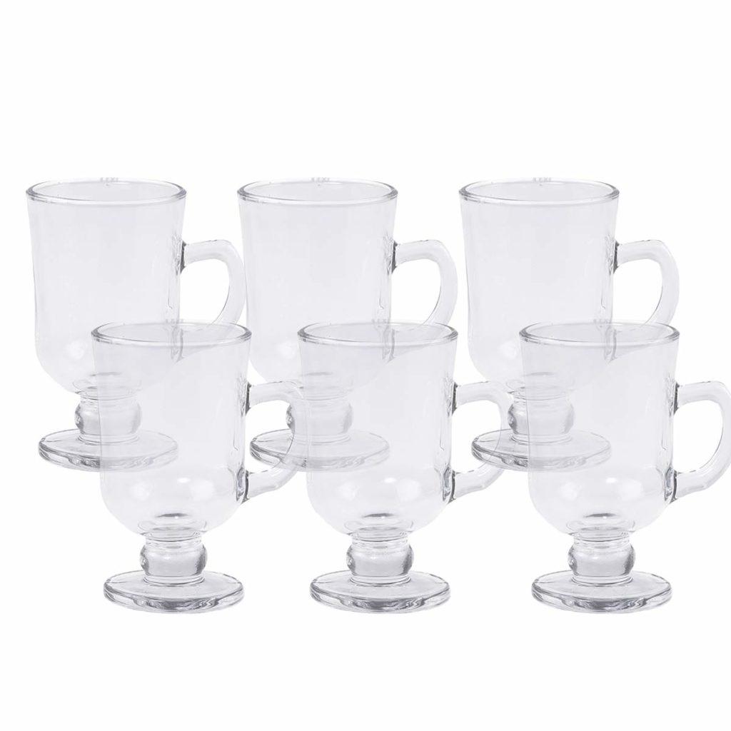 Jogo 6 Taças de Cappuccino c/Alça e Pé de Vidro 114ml Lyor  - Lemis