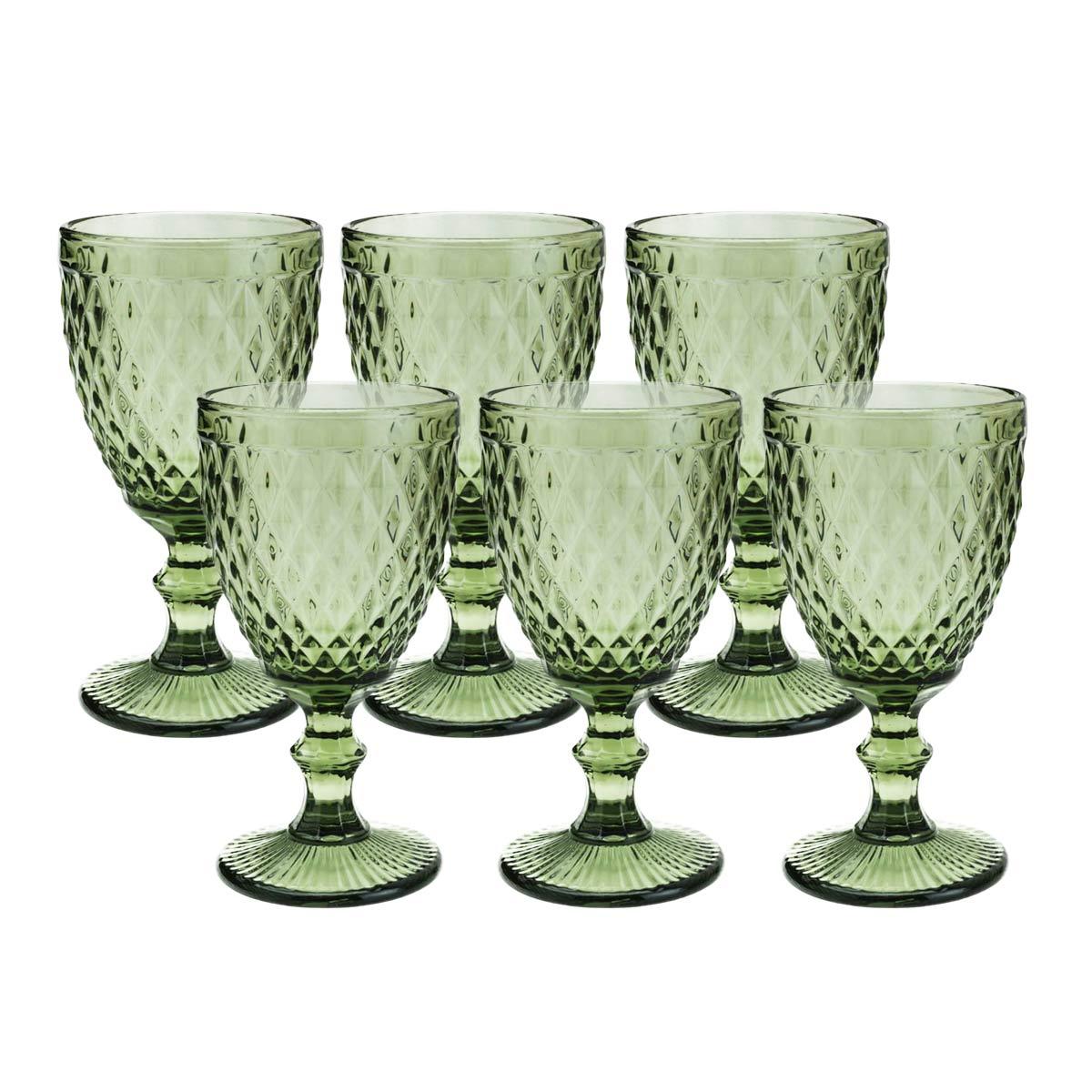 Jogo 6 Taças de Vidro p/Água Lyor Abacaxi 325 ml Verde  - Lemis