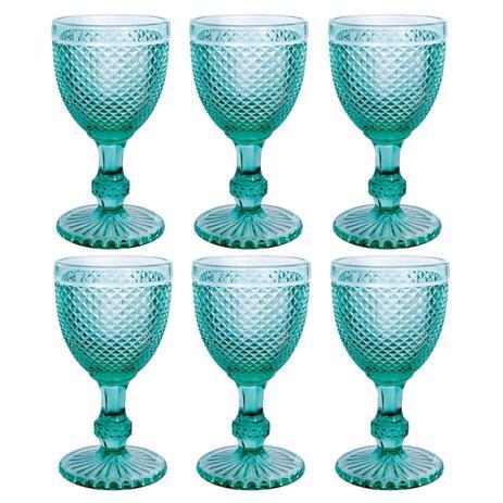 Jogo 6 Taças imperial Vidro Azul Tiffany 300 ml  - Lemis