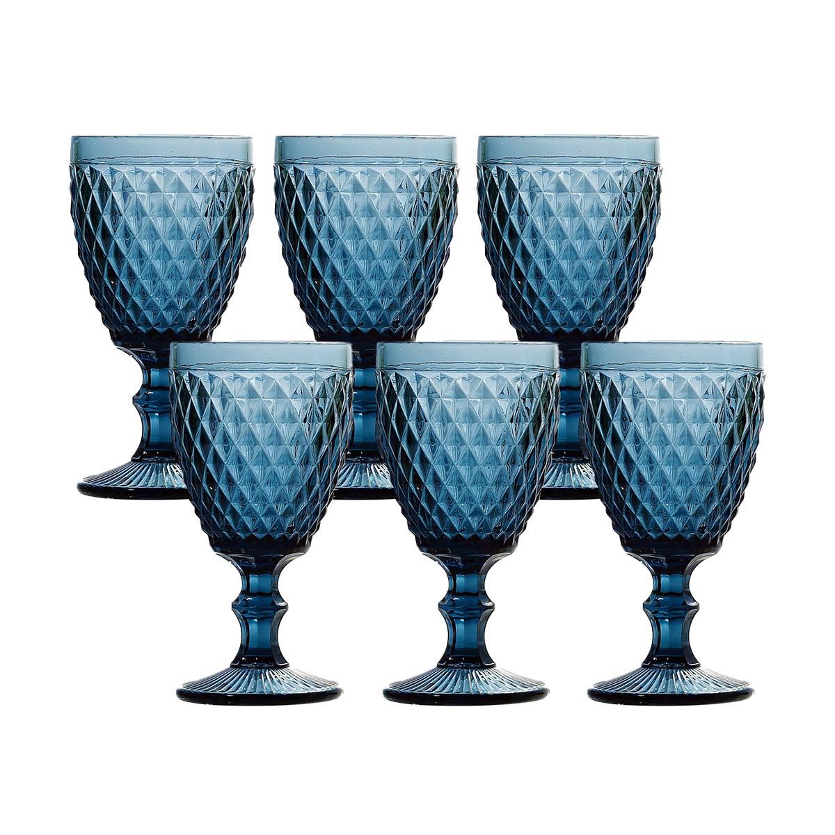 Jogo 6 Taças p/Água em Vidro Azul Bico de Abacaxi 260ml Lyor  - Lemis