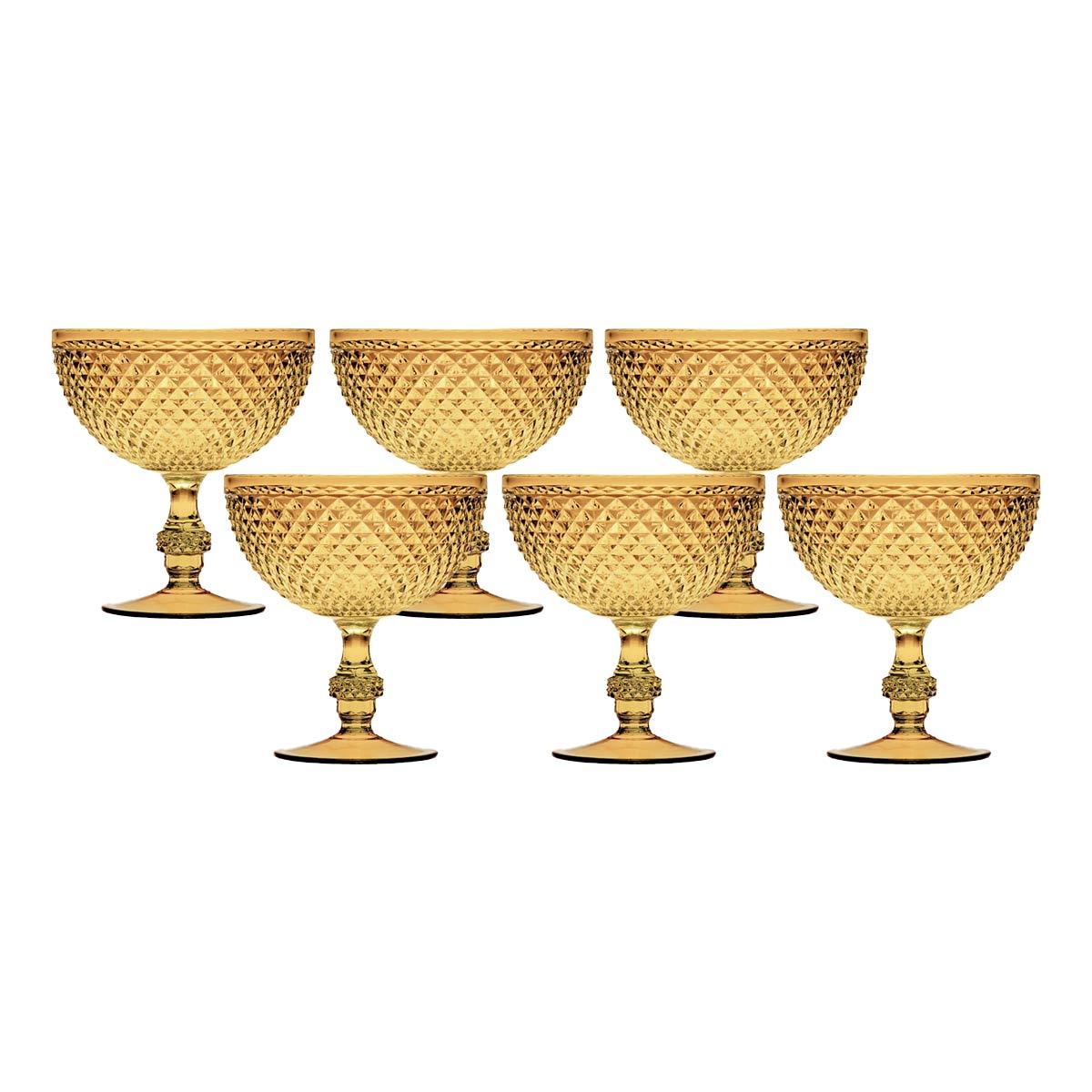 Jogo 6 Taças p/ Sorvete de Acrílico Âmbar Bon Gourmet 375ml  - Lemis