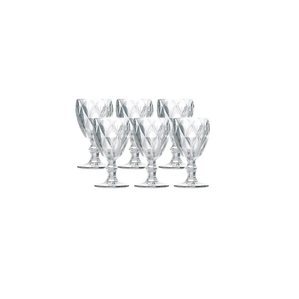 Jogo 6 Taças para Água Vidro Sodo Cálcico Diamond Transparente Lyor 325 ml  - Lemis