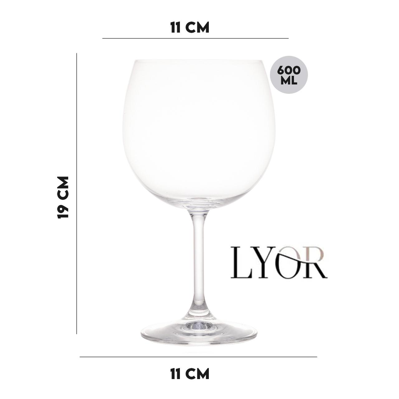Jogo 6 Taças para Degustação Gin de Cristal Ecológico 600 ml  - Lemis