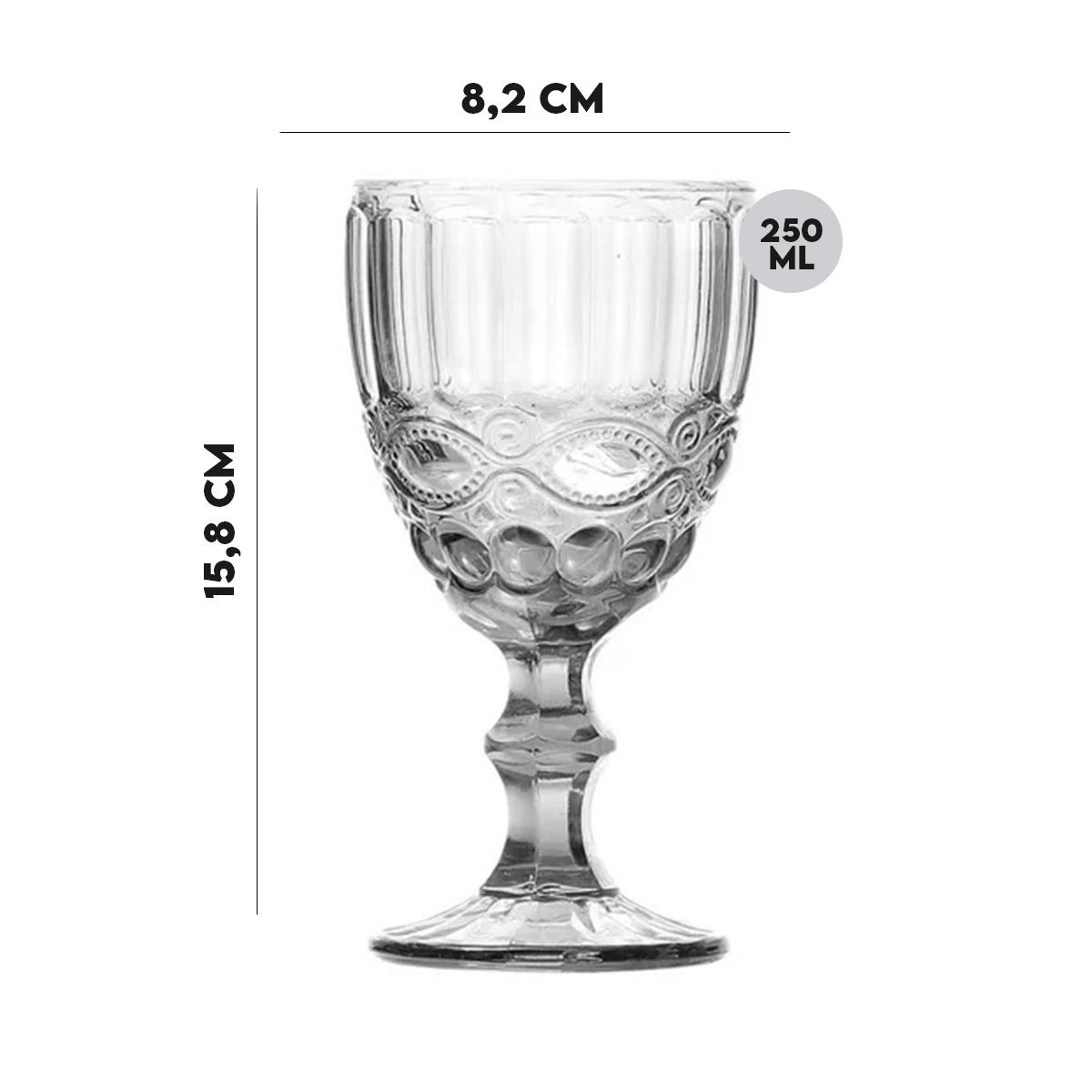 Jogo 6 Taças para Vinho de Vidro Libélula Transparente 250ml  - Lemis