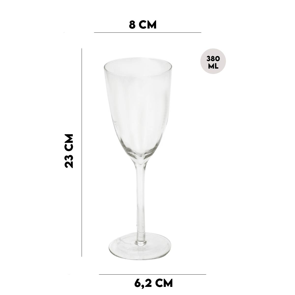 Jogo 6 Taças para Vinho Tinto Com Design BTC 380 ml  - Lemis