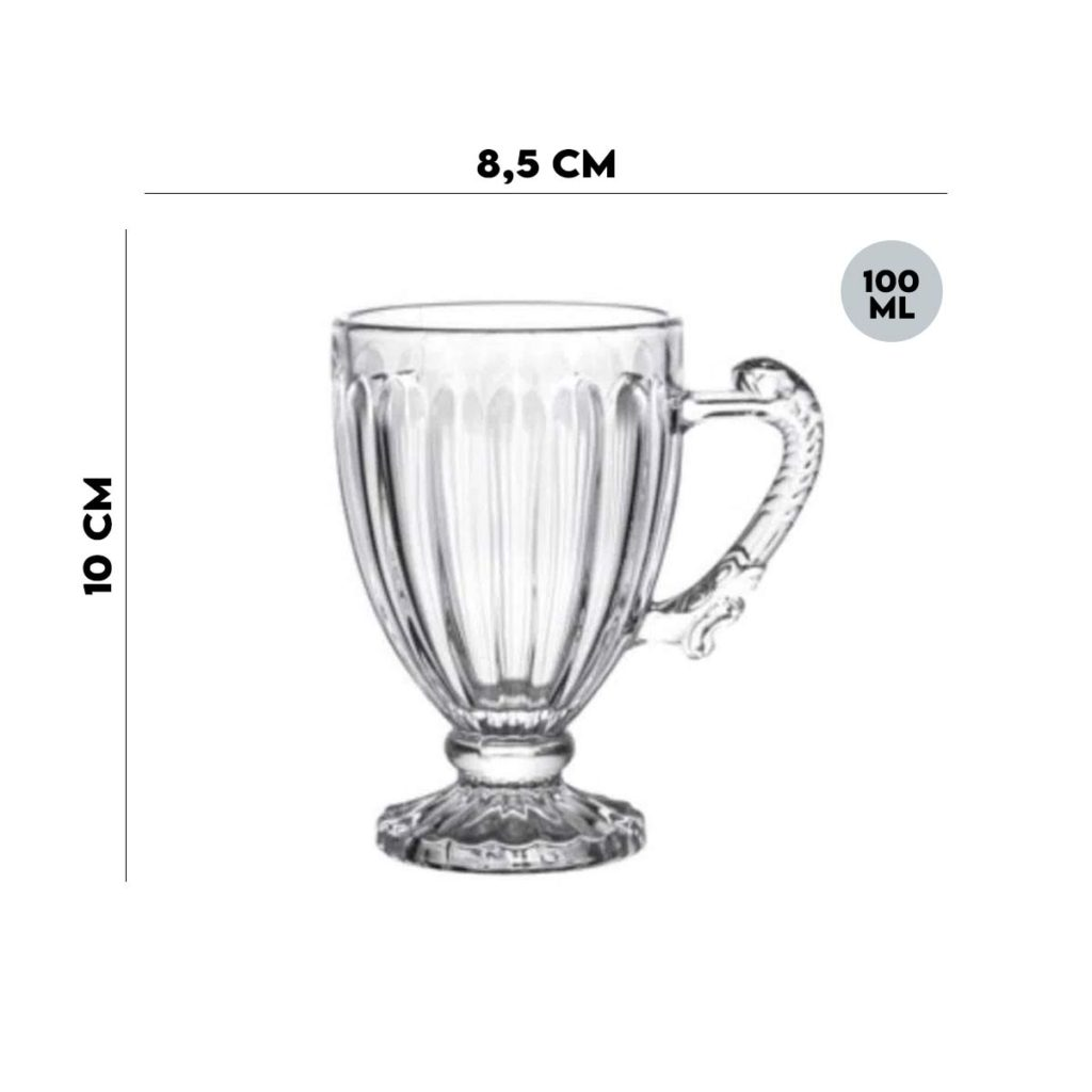 Jogo 6 Xícaras de Cristal de Chumbo para Café 100 ml Lyor  - Lemis