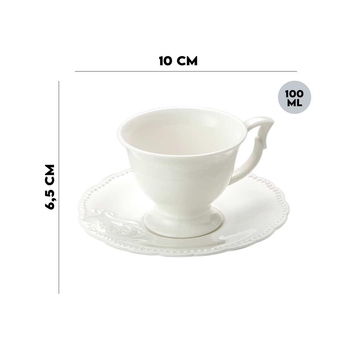 Jogo 6 Xícaras p/Café c/Pires de Porcelana Branco 100ml Lyor  - Lemis