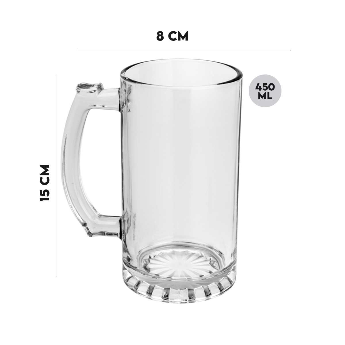 Jogo 8 Canecas p/Chopp de Vidro Germany Lyor 450 ml  - Lemis